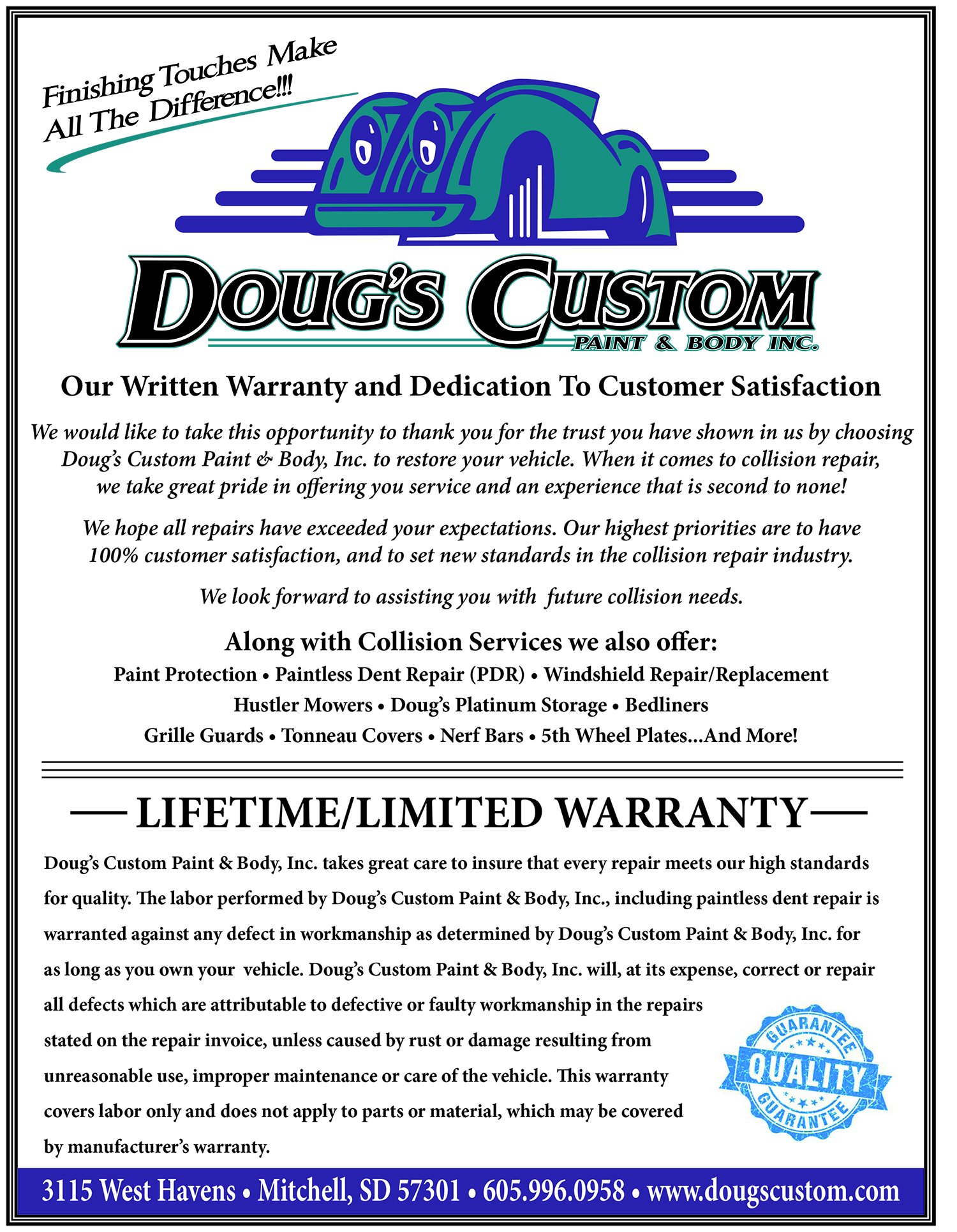 Dougs Custom Warranty